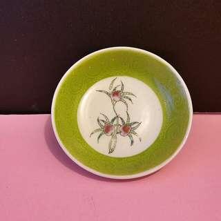 50'年代綠地蟠桃小瓷碟