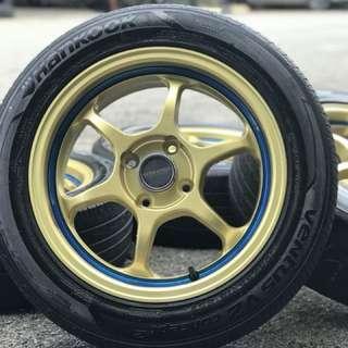 Advan rg 15 inch sports rim saga flx tyre 70%