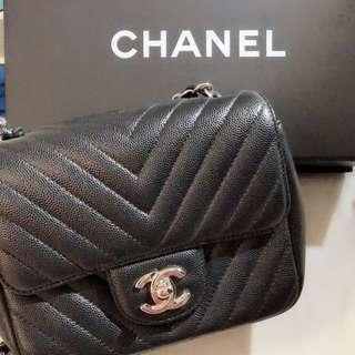 Chanel cf mini square 17cm 牛皮銀扣