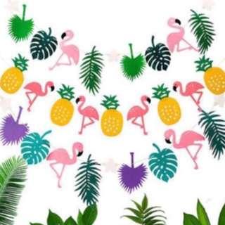Summer tropical flamingo Bunting garland