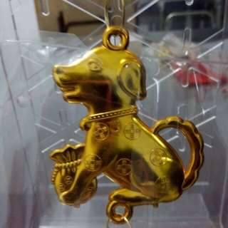 🚚 黃金帶財雙面雕刻狗來福吊飾