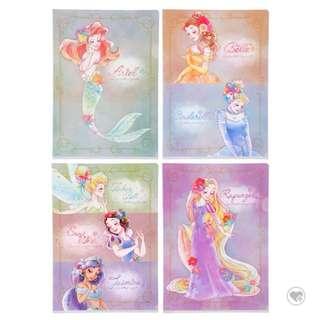 日本迪士尼file套裝 公主系列 小魚仙 茉莉公主 貝兒 樂佩長髮公主 白雪公主 小仙子