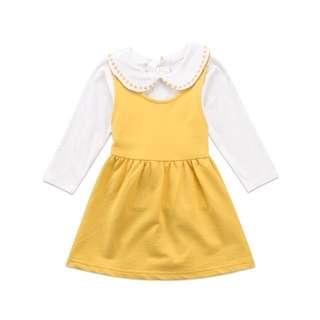 White Blouse Yellow Pinafore Dress