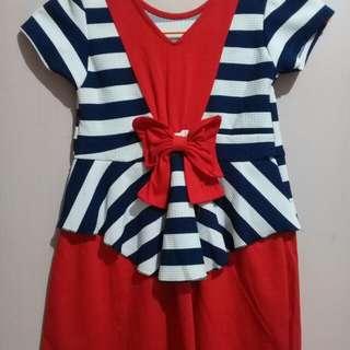 Dress anak motif garis