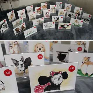 Handmade Illustrated DOGS for Chinese New Year