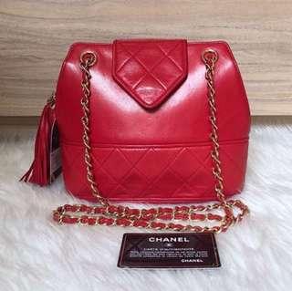 Chanel Vintage 紅色羊皮流蘇斜孭袋