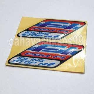 Sticker Motor Timbul Honda F1 PGM IDLING STOP Merah Biru 1 set isi 2pcs PAKET PROMOSI sepasang