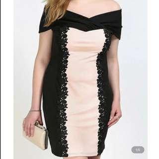 Plus Size Off Shoulder Crochet Dress in pink