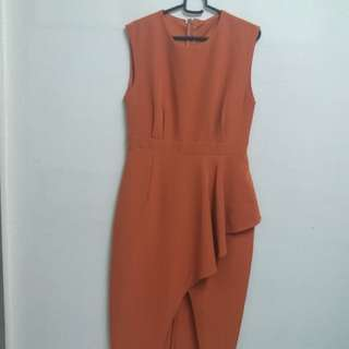Burnt Orange Dress with Slit