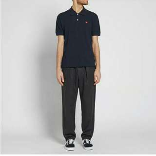 Authentic Play CDG Little Red Heart Polo Shirt Navy