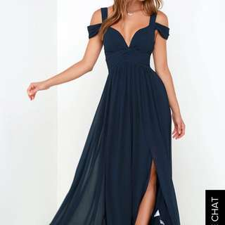BARIANO OCEAN OF ELEGANCE NAVY BLUE PROM DRESS