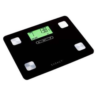 Exzact EX602 Portable Body Analyser/ Mini Electronic Weighing Scale/ Digital Bathroom Scale - Body Fat / Hydration / Muscle - 12 user memory - 150 kg / 330 lb (Black)