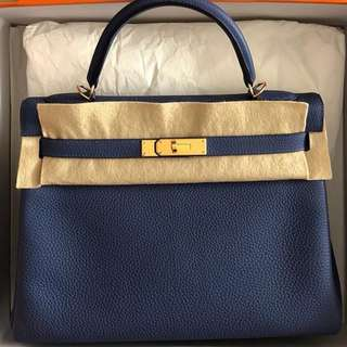 Authentic Hermes Kelly 32 Blue Brighton Clemence ghw stamp A