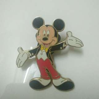 Vintage Mickey Mouse Brooch Pin gold tone