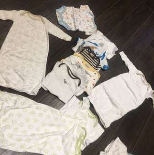 0-3m 9 diaper shirts and 4 swaddled onesies