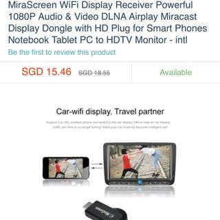MiraScreen WiFi Display Receiver Powerful 1080P Audio & Video DLNA Airplay Miracast Display Dongle With HD Plug For Smart Phones Notebook Tablet PC To HDTV Monitor