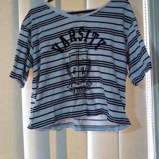 Suprè stripe crop shirt