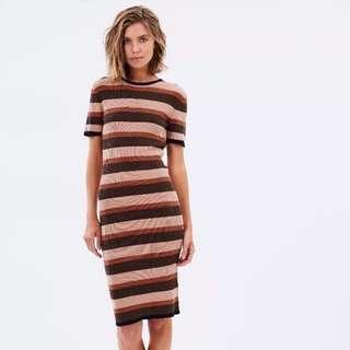 MINKPINK Taxi Club stripe bodycon knit dress XS
