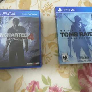PS4 tomb raider, uncharted 4