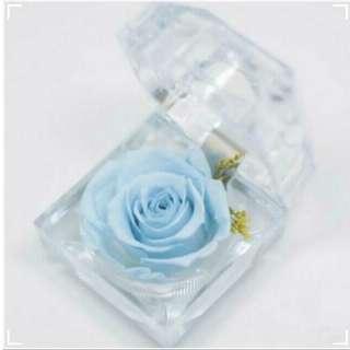 Preserved Rose Flower Crystal Ring Box Size 4.8*4.8CM Light Blue Colour