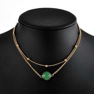 Fashion choker necklace- green