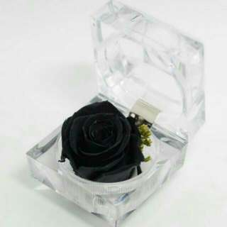 Preserved Rose Flower Crystal Ring Box Size 4.8*4.8CM Black Colour