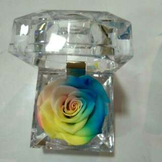 Preserved Rose Flower Crystal Ring Box Size 4.8*4.8CM Mix colour