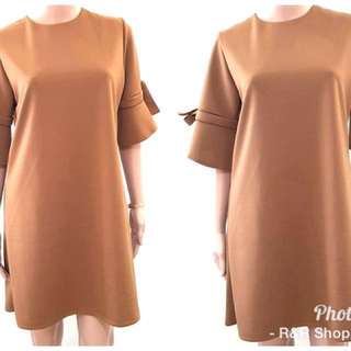 Tie Bell Sleeve Fit & Flare Dress