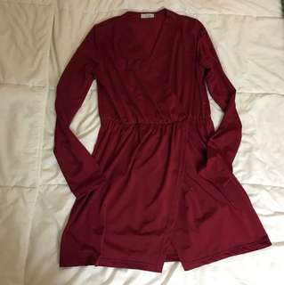 Tobi wine coloured wrap mini dress