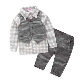 🌟INSTOCK🌟 3pc Checkered Long Sleeves Shirt Top with Grey Vest and Trouser Pants Set Baby Toddler Boy Children Kids Clothing