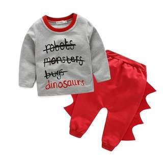 🌟INSTOCK🌟 2pc Robots Monster and Dinosaurs Long Sleeves Top and Red Punk Style Trouser Pangs Set for Baby Toddler Boy Children Kids Clothing