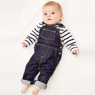 🌟INSTOCK🌟 2pc Nautical Navy Stripe Long Sleeves Shirt Top and Suspender Jeans Pants Set Newborn Baby Toddler Boy and Girl Children Kids Clothing