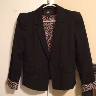 H&M puff sleeve blazer with Leopard print