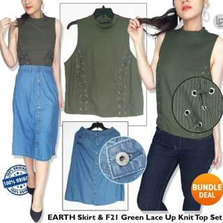 EARTH Skirt & F21 Green Lace Up Knit Top Set