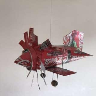 Handmade Coca Cola aeroplane windmill