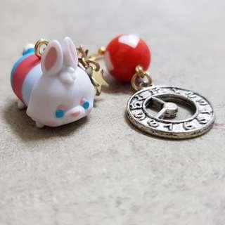 Disney Alice Wonderland White Rabbit TsumTsum and watch Kawaii Mix match Earrings