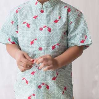 BN Elly CNY Mandarin-collared Shirt in Turquoise Fishes