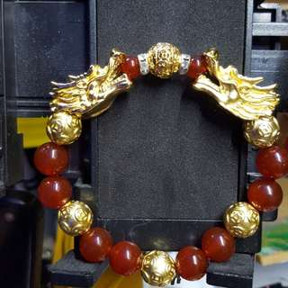 Gold plated Dragon head with Red Agate beads