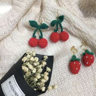 Cherry + Strawberry Knitted Earrings