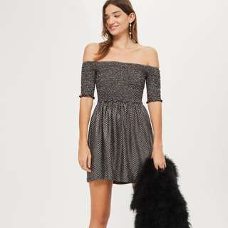 Topshop shirted bandeau mini bardot dress