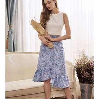 Tiana Floral Ruffled Midi Skirt