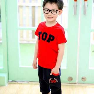 Boy TOP two pieces set (red)
