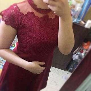 Maroon Mesh Dress
