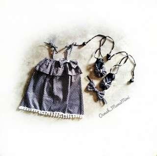 Polka dress set (dress, headband, sepatu)
