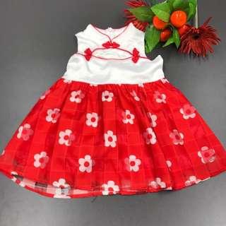 Sweet Baby Girls Sleveless Red and White Satin Cheongsam