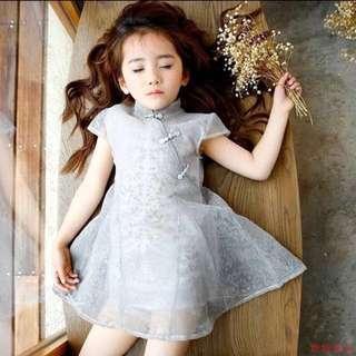Grey Chiffon Cheongsam Dress for Girl