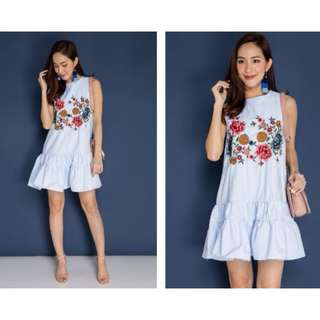 BN Embroidery Frock Blue Dress - S Size