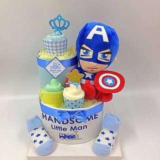 Diaper Cake - 2-tier captain America cake (free baby gift card)