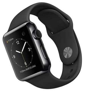 全新未開封港行Apple Watch 第一代 38mm stainless steel 不鏽鋼 連黑色運動錶帶