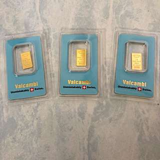 Valcambi Swiss 1g 999 pure gold bar